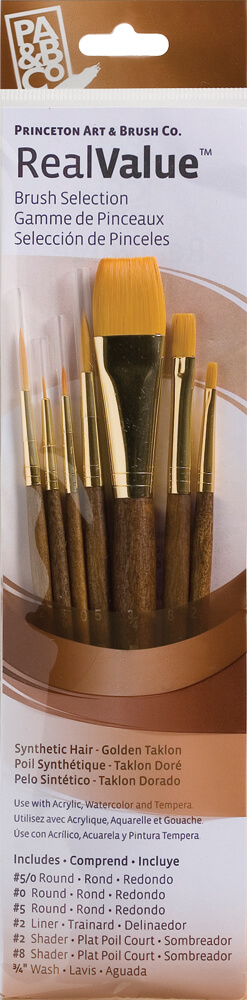 RealValue™ Synthetic Golden Taklon Artist Brush Set