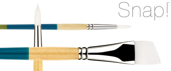Snap!™ White Synthetic Acrylic Painting Brushes