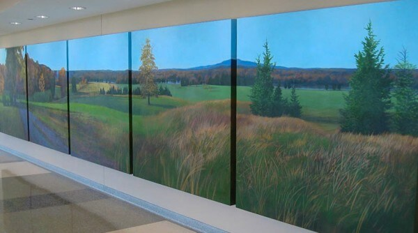 Sherman Hospital commission for the Elgin, IL facility lobby; 6′ X 30′ (five 6′ X 6′ canvases)