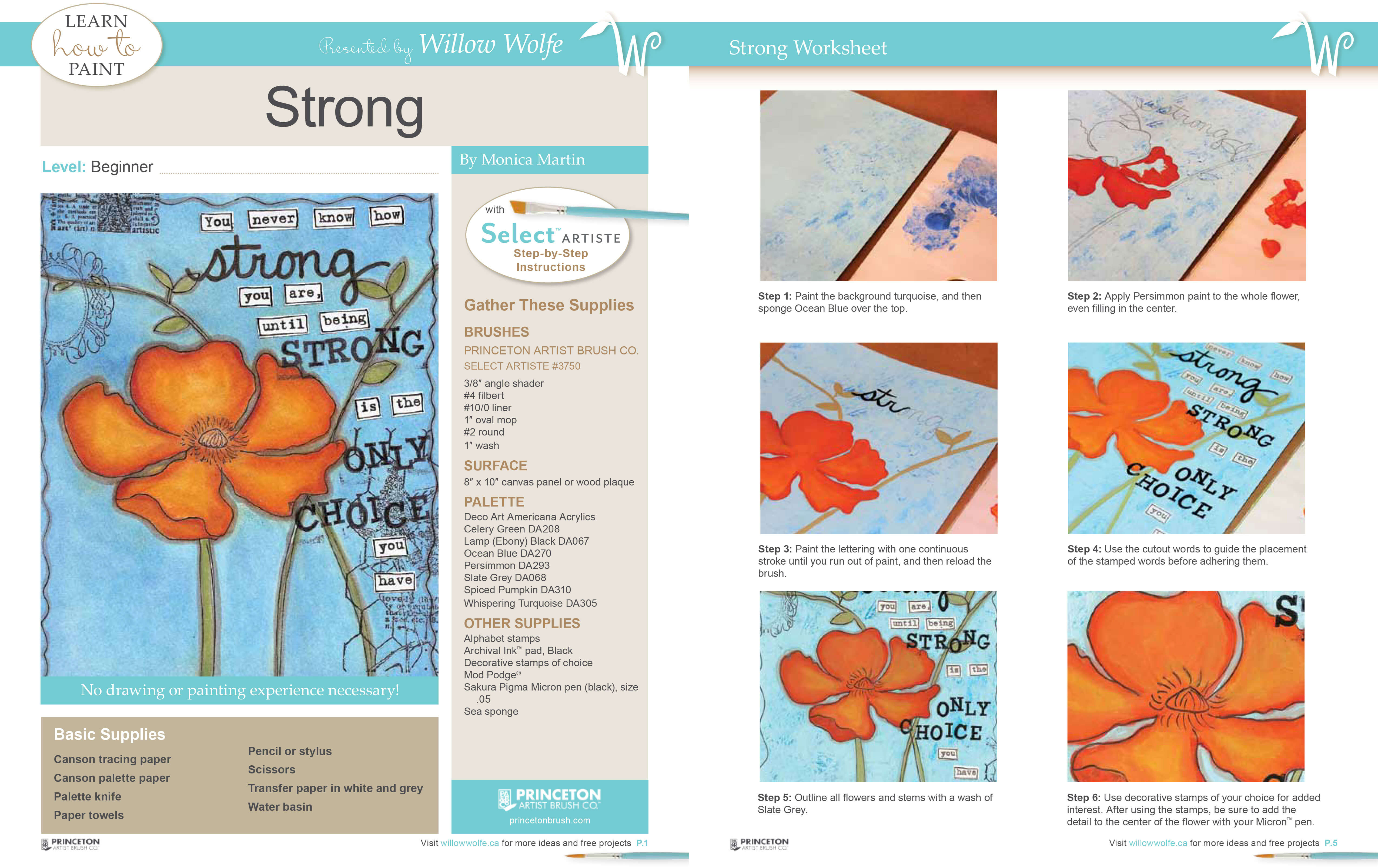 Free painting tutorial by Monica Martin presented by Willow Wolfe and Princeton