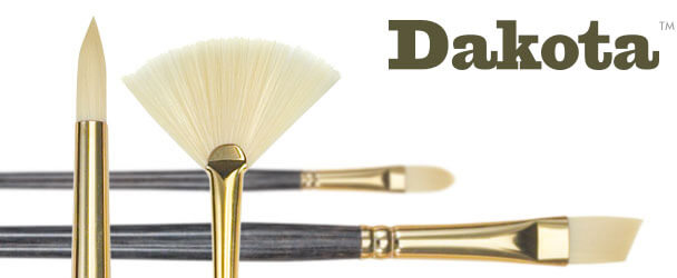 Dakota™ Off-White Synthetic Bristle Acrylic Painting Brushes