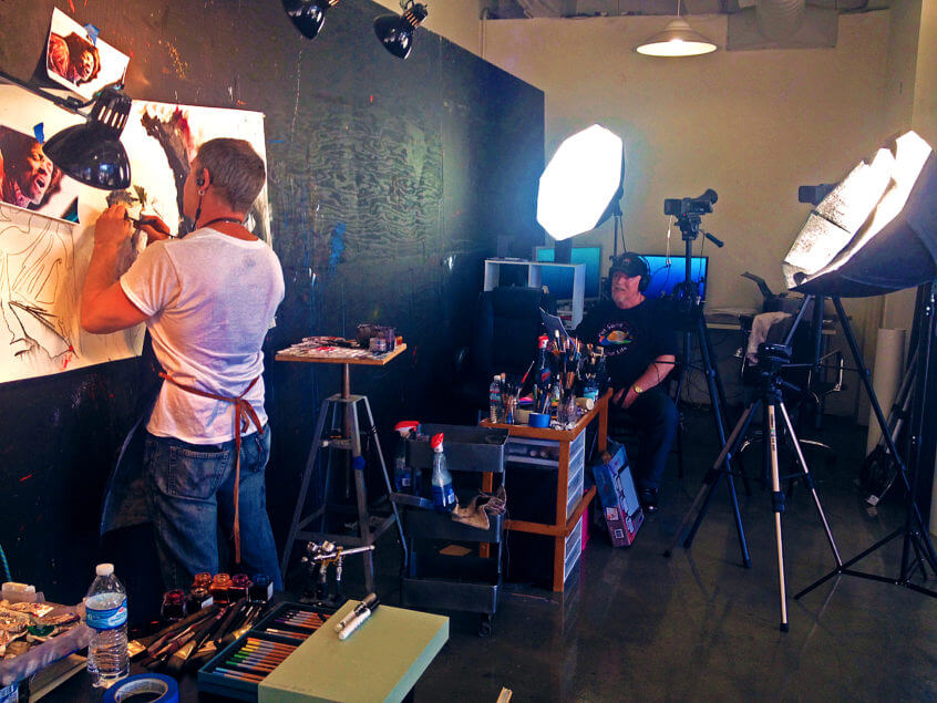 Rob Prior working with Princeton Brushes on Put Some Colour In Your Life TV show