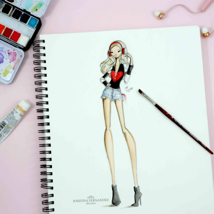Josefina Fernandez Fashion Illustrator on Princeton Artist Brush Co website featuring Princeton Select™ Artiste brushes