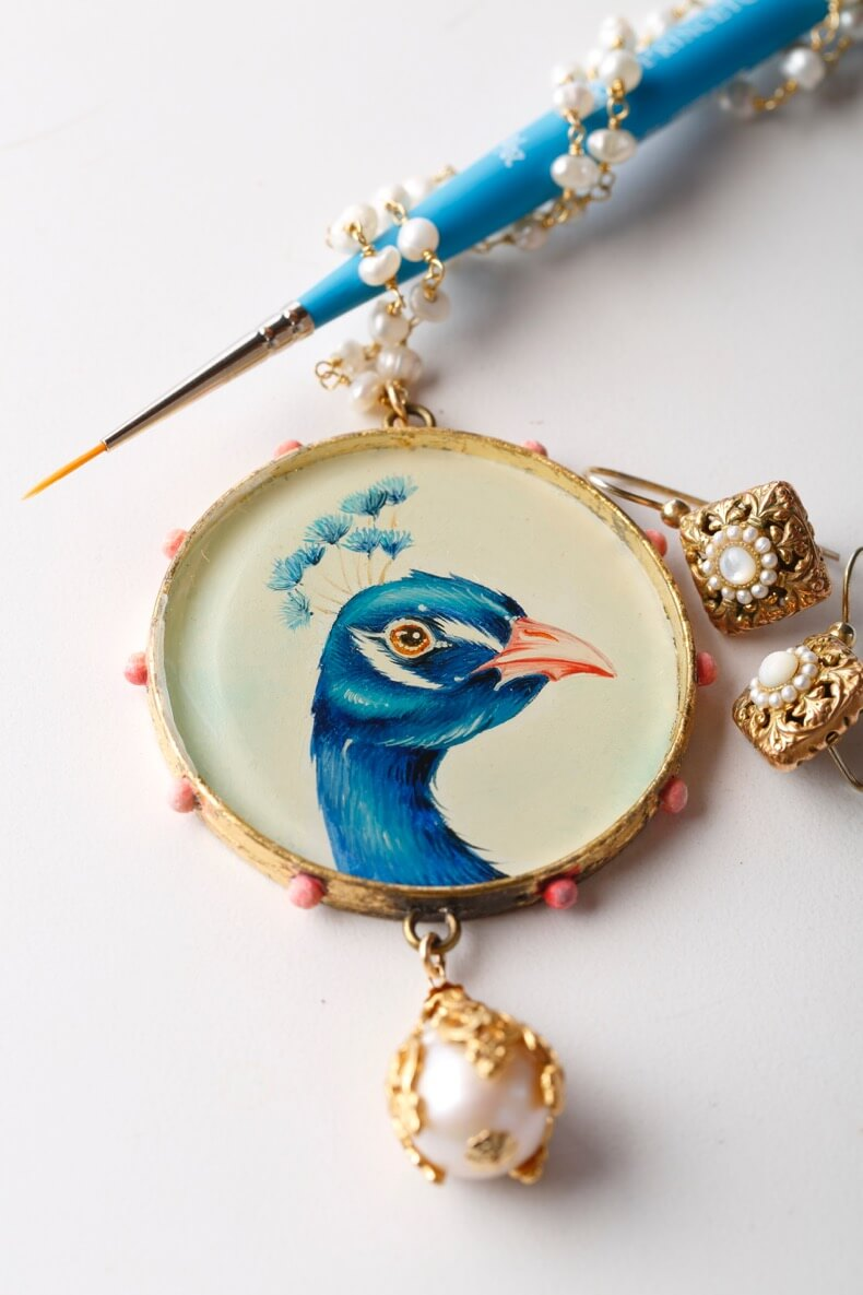 Baroque Peacock Pendant by Willow Wolfe in Painting World Magazine