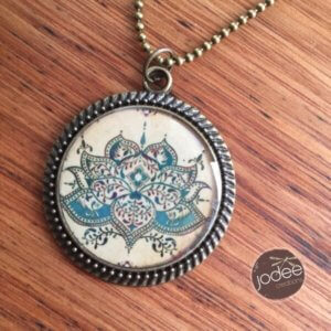 Blu Lotus antique painted necklace by Jodie Kimpton of Jodee Creations on Princeton Artist Brush Co.
