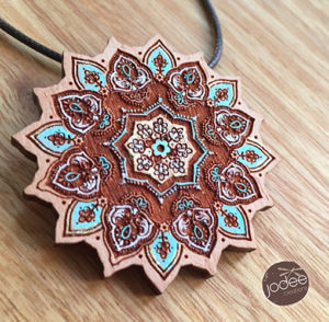 Exotic sunflower mandala hand-painted pendant necklace by Jodie Kimpton of Jodee Creations on Princeton Artist Brush Co.