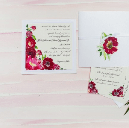 Kristy Rice watercolor watercolour painted invitation on Princeton Artist Brush Co.