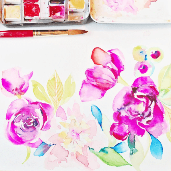 Kristy Rice watercolor watercolour painting on Princeton Artist Brush Co.