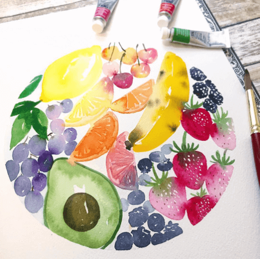 Watercolor painting by Jess Park using Princeton Heritage Series brushes