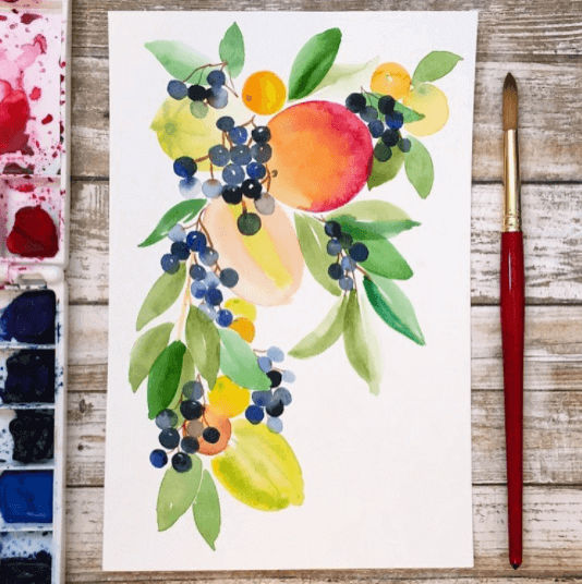 Watercolor painting by Jess Park with Princeton brushes
