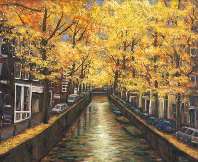 Johnathan Harris Amsterdam Autumn Acrylic Painting - Princeton Artist Brush Co.