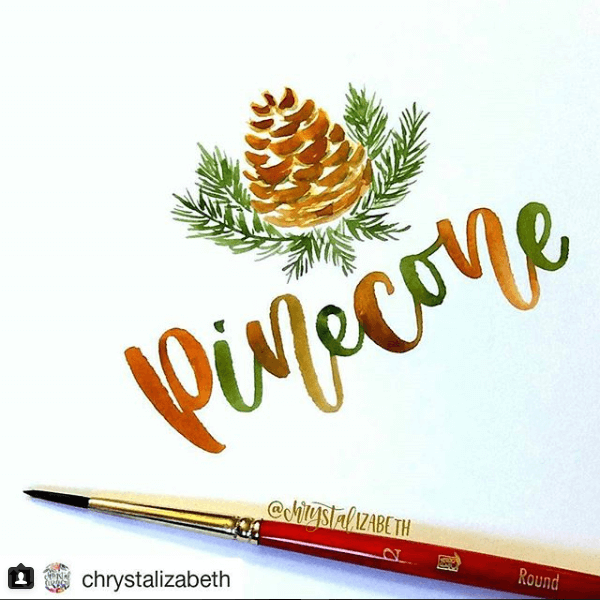 Holiday brush calligraphy by Chrystal Elizabeth