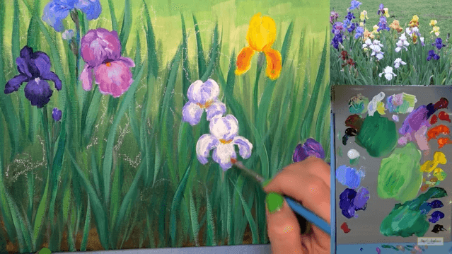 Learn How To Paint An Iris Flower Garden In This Free Step By Step Acrylic  Painting Tutorial By Angela Anderson. Her Easy To Follow Instructions Will  Guide ...